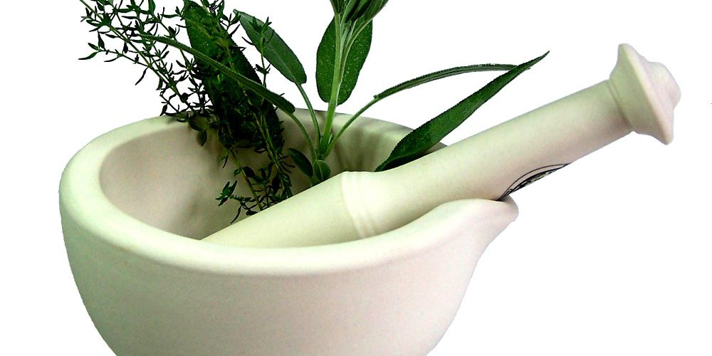 herbs in pestle